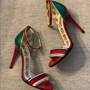 Gucci Isle Jeweled Ankle-Wrap Heels